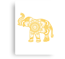 Mandala Elephant Yellow Canvas Print