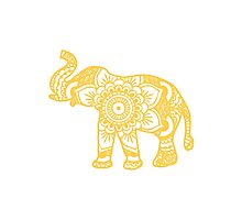 Mandala Elephant Yellow Photographic Print