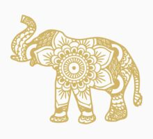 Mandala Elephant Yellow T-Shirt
