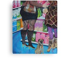 Shopping In Boots Canvas Print