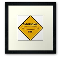 Guns are welcome here caution sign -SURF PARODY- Framed Print