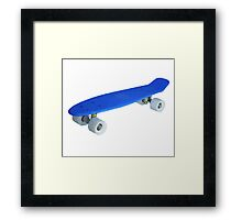Blue retro Skate - Amazing 3D transparent Effect Framed Print
