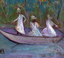 3 Girls in a boat by sword