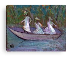 3 Girls in a boat Canvas Print