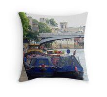 Narrow Boats Throw Pillow