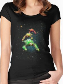Flying space rasta sloths Women's Fitted Scoop T-Shirt