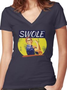 SWOLE Women's Fitted V-Neck T-Shirt