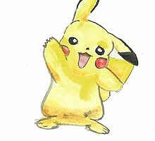 Waving Pikachu From Pokemon Cartoon  by Lucycles