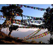 Prayer Flags at Sunset, Nepal Photographic Print
