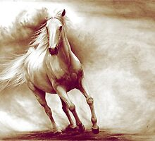 Galloping white horse retouched drawing by Thubakabra