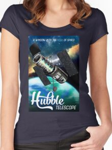 Hubble Telescope Space Travel Poster Women's Fitted Scoop T-Shirt