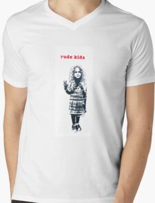 Rude kids stencil, Shoreditch. Mens V-Neck T-Shirt