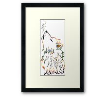Colorful Howling Wolf Framed Print