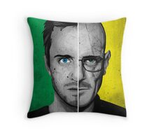 Breaking Bad Split Face Walter and Jesse Poster Yellow Throw Pillow