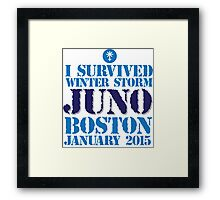 Excellent 'I survived Winter Storm Juno Boston January 2015' T-shirts, Hoodies, Accessories and Gifts Framed Print