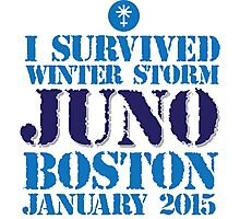 Excellent 'I survived Winter Storm Juno Boston January 2015' T-shirts, Hoodies, Accessories and Gifts Photographic Print