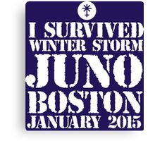 Excellent 'I survived Winter Storm Juno Boston January 2015' T-shirts, Hoodies, Accessories and Gifts Canvas Print