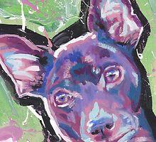 Rat Terrier Dog Bright colorful pop dog art by bentnotbroken11