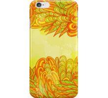 Hand drawn orange design with leaves iPhone Case/Skin
