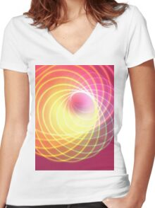 Glowing Spiral Women's Fitted V-Neck T-Shirt
