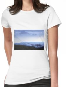 Landscape across Chesil Beach and Abbotsbury Womens Fitted T-Shirt