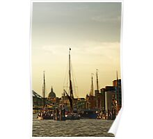 Boats on Thames River at Sunset, London Poster