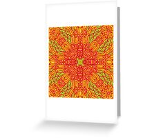 Orange and green hand drawn floral ornament Greeting Card