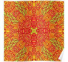 Orange and green hand drawn floral ornament Poster