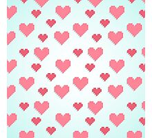Abstract 8-bit pink and blue heart pattern Photographic Print