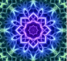 Purple Blue and Green Kaleidoscope Mandala by TigerLynx