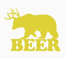 Funny Beer Bear with Antlers by robotface