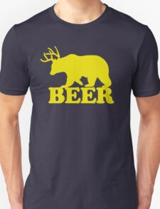 Funny Beer Bear with Antlers Unisex T-Shirt