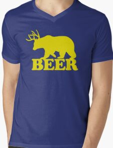 Funny Beer Bear with Antlers Mens V-Neck T-Shirt