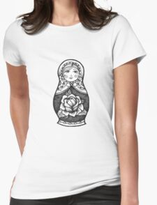 Hand Drawn Dot Work Russian Doll  Womens Fitted T-Shirt