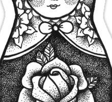 Hand Drawn Dot Work Russian Doll  Sticker