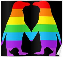 Rainbow penguins in love. Poster