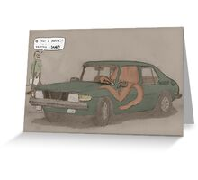 a squid in a Saab Greeting Card