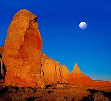 Moon over Kodakchrome State Park, Utah by Daniel  Chui