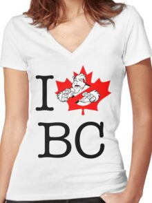 I PNW:GB BC (white) Maple Leaf v2 Women's Fitted V-Neck T-Shirt