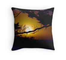 Golden Coastal Sunset Throw Pillow