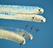 Red Arrows trailing smoke across the sky by SteveGurman