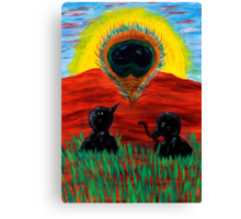 Mama Crow Suddenly Sees a Beautiful.... Canvas Print