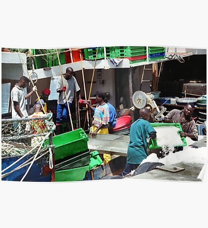 Fishermen at Work, Hout Bay Harbour, South Africa Poster