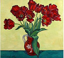 Red tulips in a red jug Photographic Print