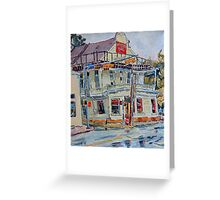 Liberty bar in San Antonio. Rainy day. Greeting Card