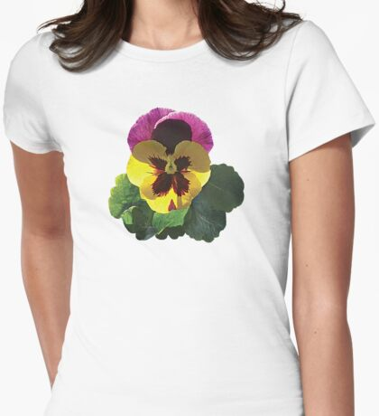 Purple and Yellow Pansy Womens Fitted T-Shirt
