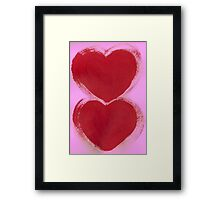 Double Hearts in Rouge Red on Pretty Pink Framed Print