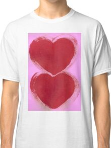 Double Hearts in Rouge Red on Pretty Pink Classic T-Shirt
