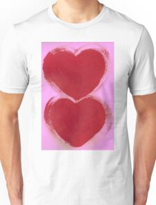 Double Hearts in Rouge Red on Pretty Pink Unisex T-Shirt