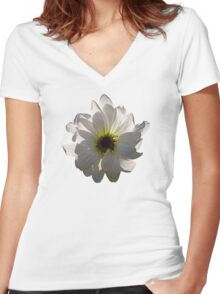 Backlit White Daisy Women's Fitted V-Neck T-Shirt